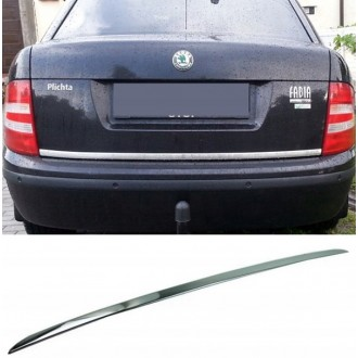 SKODA FABIA I Sedan - CHROME Rear Strip Trunk Tuning Lid 3M Boot