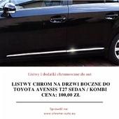 🚘🏁 Listwy chrom na drzwi boczne do Toyota Avensis T27 Sedan / Kombi  Zawartość zestawu: 4x listwy chrom (nowe, fabrycznie zafoliowane), instrukcja montażu w języku polskim, oryginalne opakowanie ochronne. . Oferowane listwy pozwolą zabezpieczyć Twój samochód przed korozją oraz jednocześnie podnieść jego atrakcyjność. Oferowane przez nas listwy podniosą prestiż Twojego samochodu oferując jednocześnie maksymalny poziom bezpieczeństwa. Kochasz swoją Toyotę Avensis? Nie zwlekaj z dołożeniem na drzwi boczne pięknych, chromowanych listew! . Listwy posiadają na odwrocie specjalne dwustronne taśmy tuningowe firmy 3M. Taśmy te pozwalają na bardzo szybki i łatwy montaż w kilka minut. Jeśli jednak będą problemy to do każdej przesyłki dołączana jest instrukcja montażu w języku polskim. . Listwy CHROMOWANE zapewniają pojazdom prestiż i super wygląd, długotrwały wspaniały efekt, wysoki połysk, odporność na warunki zewnętrzne, odporność na chemię (również na sól drogową), a wysoka staranność wykonania zapewnia idealne dopasowanie i bardzo dobrą jakość użytkowania. ❤️ . Mają Państwo okazję kupić produkt który kosztuje dużo więcej w salonach firmowych a spełnia taką samą funkcję i wygląda identycznie! Kupując u nas mają Państwo pewność profesjonalnej obsługi i błyskawicznego kontaktu niemal 12h na dobę! Dbamy o klienta dlatego zapewniamy kontakt od 8:00 do 20:00. . Wszystkie podane ceny listew chromowanych są cenami brutto. Razem z przesyłką każdy klient naszego sklepu CHROMEAUTO otrzymuje paragon na zakup listwy, a na życzenie FAKTURĘ VAT 23%. 👇 Cena: 100,00 zł + wysyłka Link do aukcji: www.bit.ly/chrome_avensis . . . #czyszczenie #efektlustra #efektwow #felgi #instapolska #jakość #klasyczne #klasyki #konserwacja #niesamowite #pojazd #sportowy #staresamochody #kierowca #klasa #kosmetyka #lakier #lubię #motoryzacja #piekny #pieknywidok #przedipo #regeneracja #samochody #samochod #efekt #jazda #jestpięknie #lubie #metamorfoza